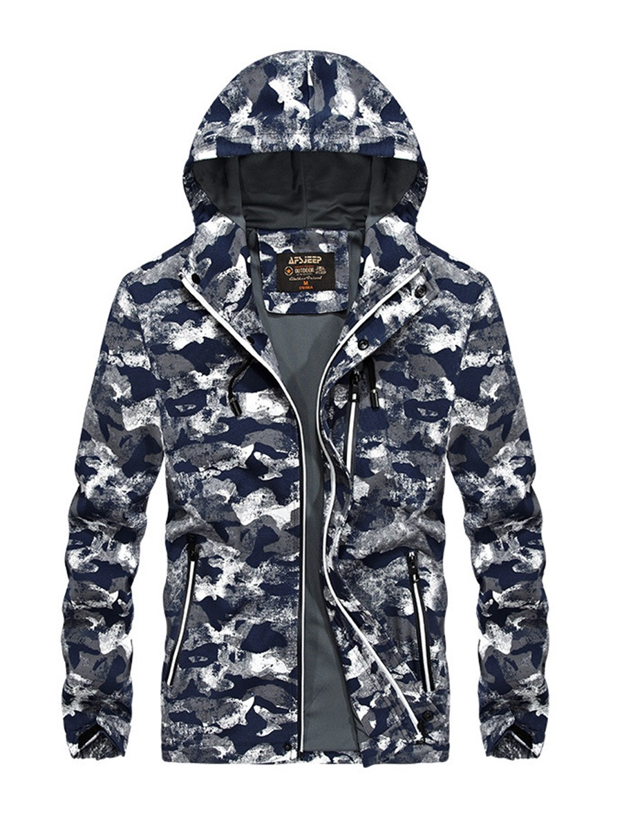 Ericdress Camouflage Zipper Hooded Casual Slim Mens Jacket