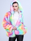 Ericdress Color Block Gradient Hooded Faux Fur Coat