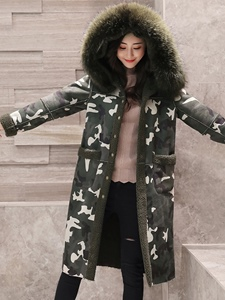 Ericdress Loose Camouflage Mid-Length Hooded Coat