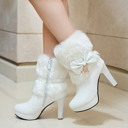 Ericdress Warm Fuzzy Bowknot Decorated High Heel Boots фото