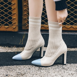 Ericdress Pointed Toe Color Block High Heel Boots
