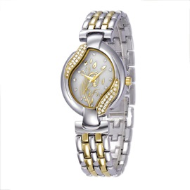 Ericdress Elegant Diamante Steel Band Quartz Women's Watch