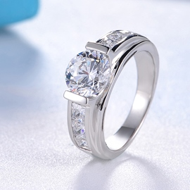 MarkChic Round Cut White Sapphire Created Wedding Ring