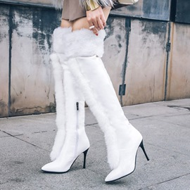 Ericdress Chic Fuzzy Pointed Toe Plain Knee High Boots