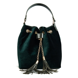 Ericdress Casual Solid Color Velvet String Crossbody Bag