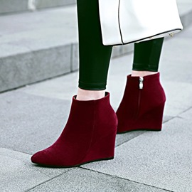 Ericdress Plain Pointed Toe Wedge Heel Ankle Boots