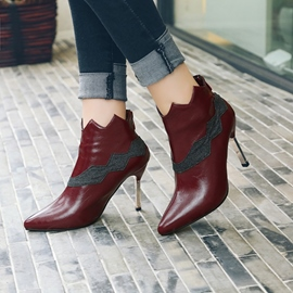 Ericdress Color Block Pointed Toe Patchwork Stiletto Heel Boots