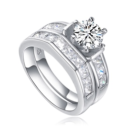 MarkChic High End Round Cut Six-Prong Bridal Set