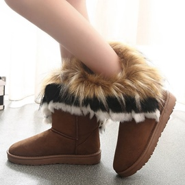 Ericdress Fuzzy Round Toe Slip-On Women's Snow Boots