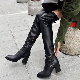 Ericdress Buckle Plain Pointed Toe Knee High Boots