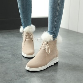 Ericdress Fuzzy Lace-Up Plain Women's Boots