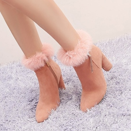 Ericdress Fashion Fuzzy Fringe Chunky Heel Ankle Boots
