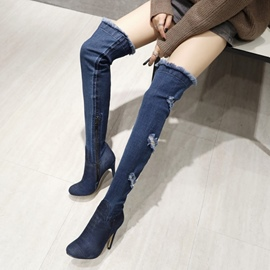 Ericdress Hollow Denim Stiletto Heel Knee High Boots