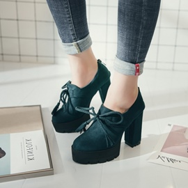 Ericdress Bowknot Platform Plain Chunky Heel Ankle Boots