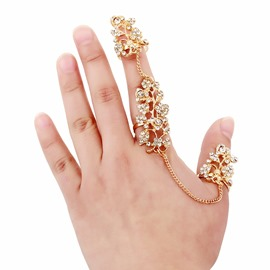 Ericdress Diamante Leaf Hollow Out Alloy Ring for Women