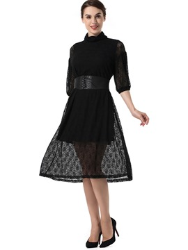 Ericdress Lantern Sleeve Hollow Lace A Line Dress