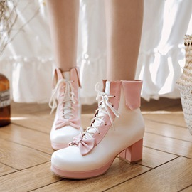 Ericdress Sweet Color Block Ankle Boots with Bowknot