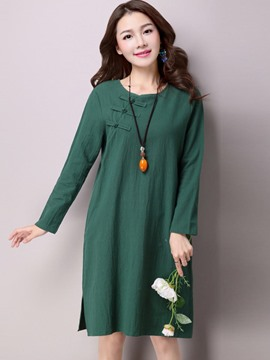 Ericdress Plain Long Sleeves Frog Casual Dress