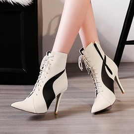 Ericdress Cross Strap Pointed Toe High Heel Boots