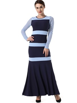 Ericdress Fall Stripe Long Sleeve A Line Dress