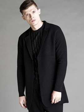 Ericdress Plain Lapel Vogue Slim Men's Woolen Coat