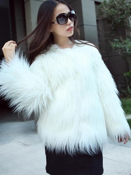 Ericdress Loose Standard Plain Fur Coat