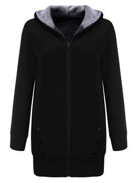 Ericdress Mid-Length Zipper Plain Cool Hoodie