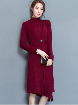 Ericdress Turtle-Neck Sleeveless Dress and Long Sleeve Coat Women's Suit