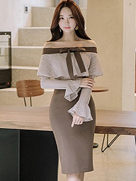Ericdress Slash Neck Ruffles Flare Sleeves Bodycon Dress