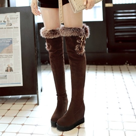 Ericdress Fuzzy Plain Platform Thigh High Boots
