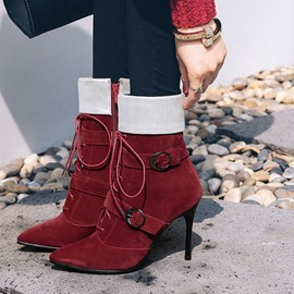 Ericdress Color Block Buckle High Heel Boots