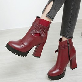 Ericdress Round Toe Platform Plain High Heel Boots