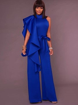 Ericdress Slim Wide Leg Backless Ruffles Womens' Jumpsuit