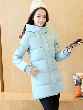 Ericdress Plain Thick Mid-Length Turtleneck Hooded Coat