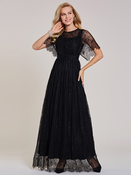 Ericdress Scoop Neck Zipper-Up Lace A Line Evening Dress