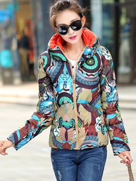 Ericdress Slim Camouflage Zipper Hooded Coat