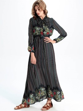 Ericdress Bow Collar Floral Lantern Sleeves Maxi Dress