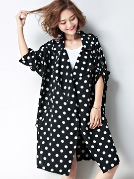 Ericdress Thin Polka Dot Batwing Sleeve Trench Coat