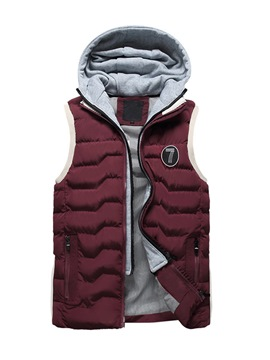 Ericdress Plain Cotton Zip Hooded Thicken Warm Slim Men's Vest