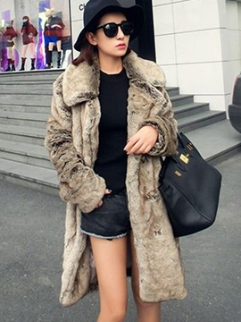 Ericdress Loose Mid-Length Plain Fur Coat