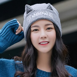 Ericdress All Match Cat's Ear Thicken Knitting Women's Hat