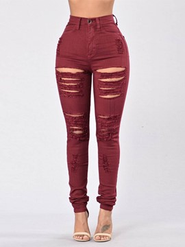 Ericdress Plain Slim High-Waist Women's Ripped Jeans
