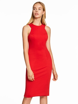 Ericdress Presale Scoop Neck Zipper-Up Red Cocktail Dress
