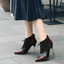 Ericdress Color Block Lace-Up Stiletto Heel Boots