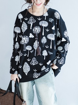 Ericdress Loose Mid-Length Print Cool Hoodie