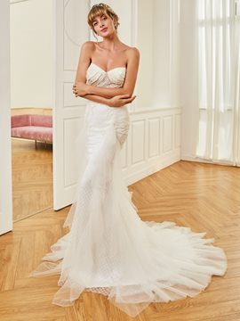 Ericdress Sweetheart Beaded Mermaid Tulle Wedding Dress