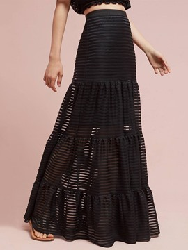 Ericdress A-Line Floor-Length High-Waist See-Through Women's Skirt