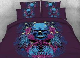 Vivilinen 3D Halloween Skull with Crossing Pistols Printed 4-Piece Bedding Sets/Duvet Covers