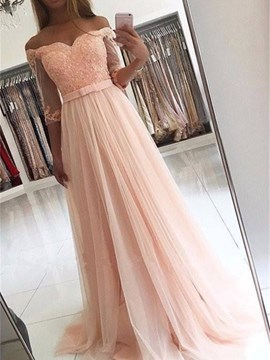 Ericdress Half Sleeve Off The Shoulder Lace Applique Long Evening Dress