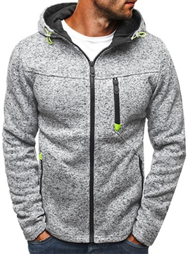 Ericdress Plian Zipper Up Hooded Loose Men's Hoodie